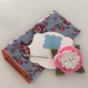 Men's pocket square and lapel pin.